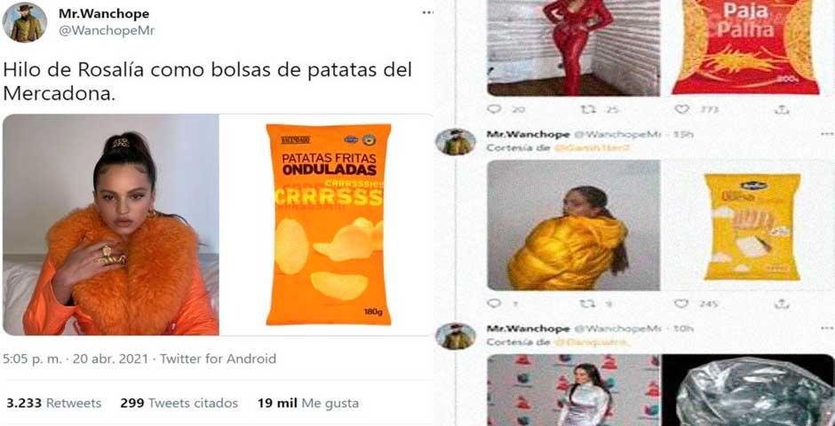 Los looks de Rosalía comparados con bolsas de patatas fritas 1