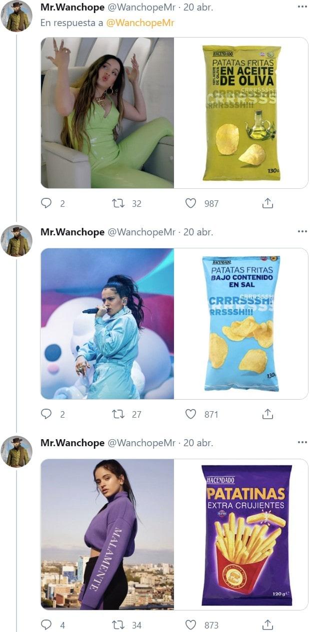 Los looks de Rosalía comparados con bolsas de patatas fritas 4