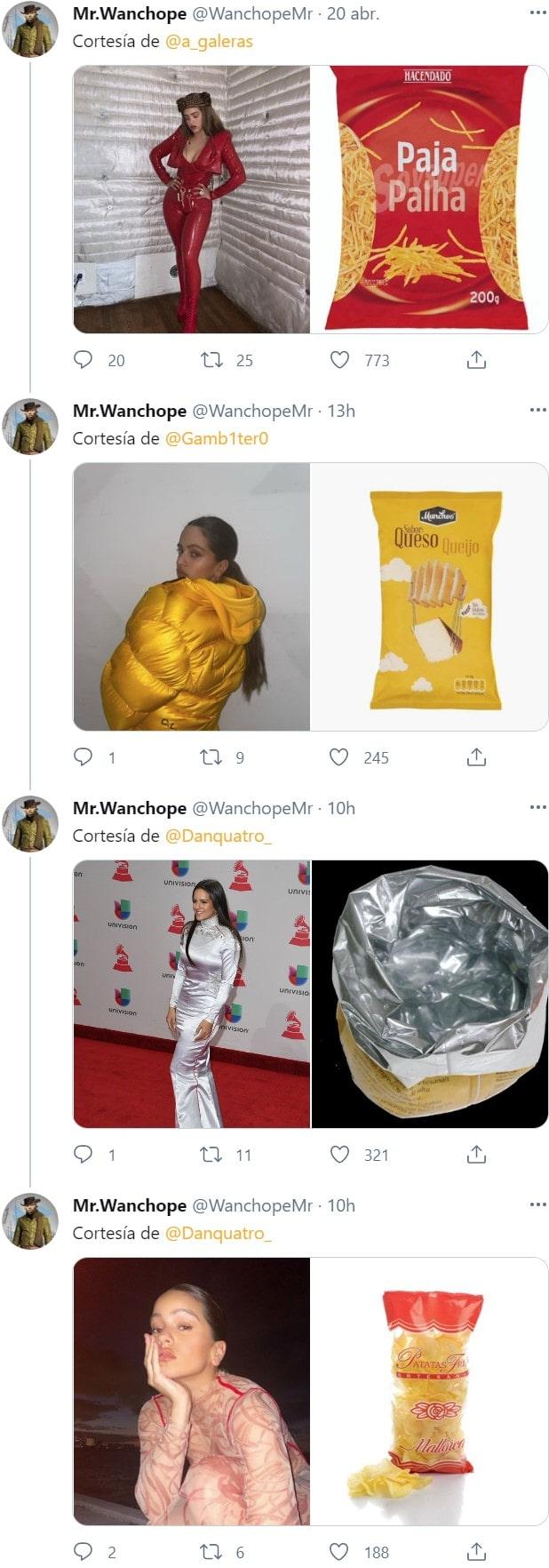 Los looks de Rosalía comparados con bolsas de patatas fritas 5