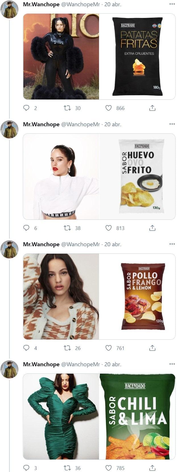 Los looks de Rosalía comparados con bolsas de patatas fritas 3